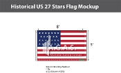 Historical US 27 Stars Flags 5x8 foot