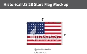 Historical US 28 Stars Flags 4x6 foot