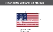 Historical US 28 Stars Flags 5x8 foot