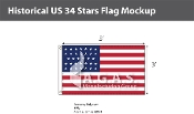 Historical US 34 Stars Flags 3x5 foot