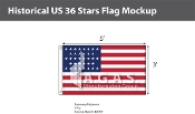 Historical US 36 Stars Flags 3x5 foot