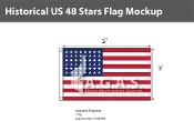 Historical US 48 Stars Flags 3x5 foot