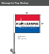 Now Leasing Car Flags 12x16 inch (Red, White & Blue)