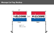 Welcome Premium Car Flags 10.5x15 inch (Red, White & Blue)