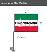 Financiamos Car Flags 12x16 inch (Green, White & Red)