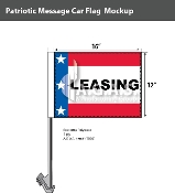 Patriotic Leasing Car Flags 12x16 inch