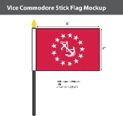Vice Commodore Stick Flags 4x6 inch