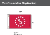Vice Commodore Deluxe Flags 12x18 inch
