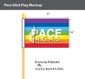 "Rainbow Pace Stick Flag 12""X18"""