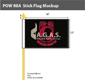 POW MIA Stick Flags 12x18 inch (black & red)