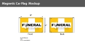 Funeral Cross Car Flags 6x9 inch Magnetic (orange & white)