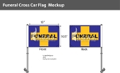 Funeral Cross Car Flags 10.5x15 inch Premium (purple & yellow)