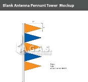 Orange & Blue Antenna Pennant Towers 32 inch