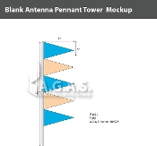 Fluorescent Blue & Orange Antenna Pennant Towers 32 inch