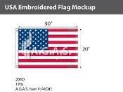 USA Embroidered Flags 20x30 inch (Made in the USA)