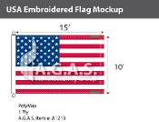 USA Embroidered Flags 10x15 foot (Made in the USA)