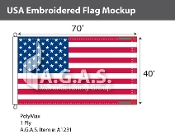 USA Embroidered Flags 40x70 foot (Made in the USA)