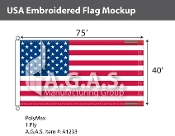 USA Embroidered Flags 40x75 foot (Made in the USA)