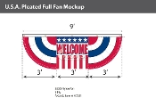USA Pleated Full Fans with Center 3x9 foot with Welcome