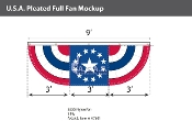 USA Pleated Full Fans with Center 3x9 foot with Star
