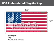 USA Embroidered Flags 30x60 foot (Made in the USA)