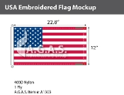 USA Embroidered Flags 12x22.8 inch (Official Size)