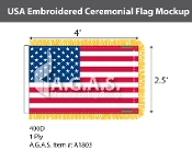 USA Embroidered Ceremonial Flags 2.5x4 foot