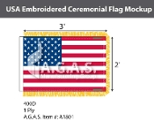 USA Embroidered Ceremonial Flags 2x3 foot