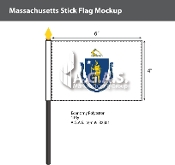 Massachusetts Stick Flags 4x6 inch