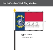 North Carolina Stick Flags 4x6 inch